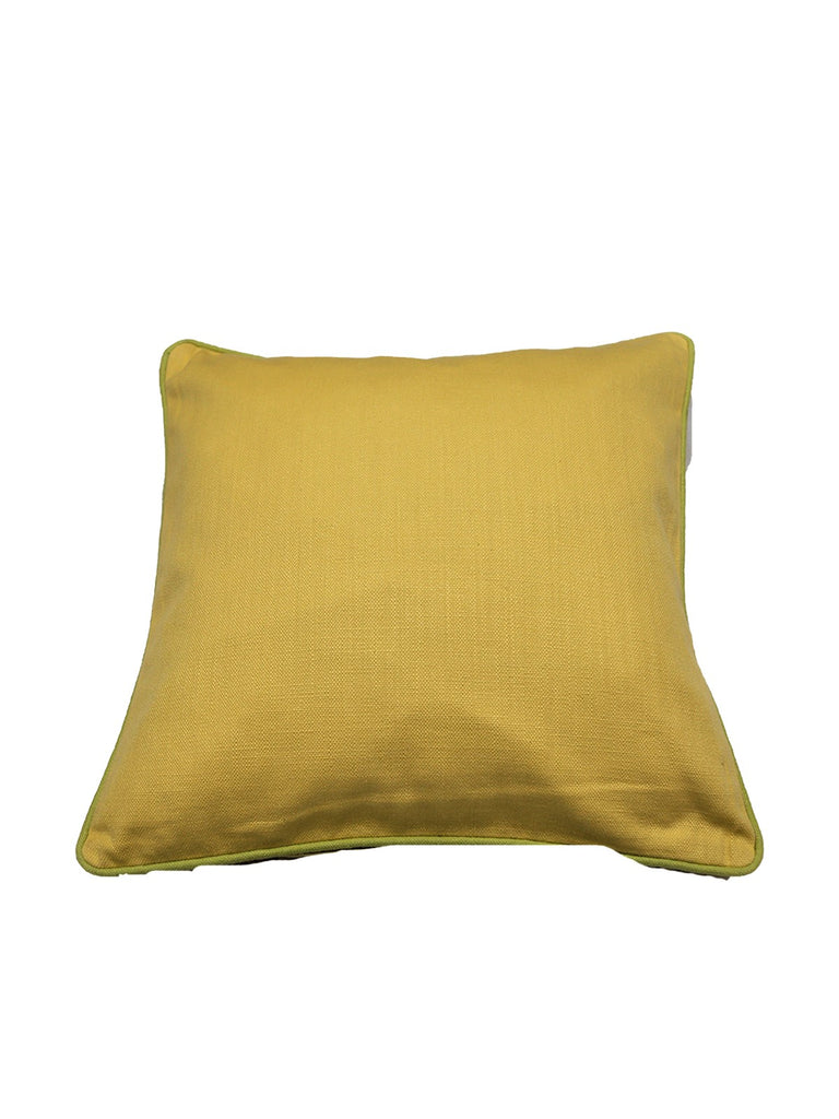Reversible(Yellow) Plain- Cotton Cushion Cover