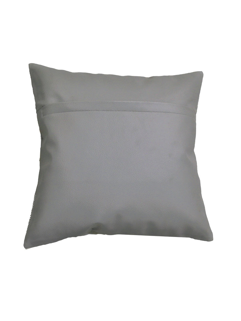 (Grey)Embroidery- Leather Cushion Cover