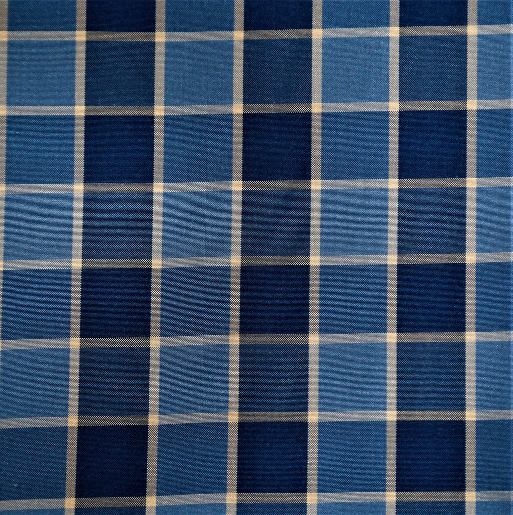 Zena Check Upholstery Fabric Silk (Blue)-Rs. 1050 per mtr