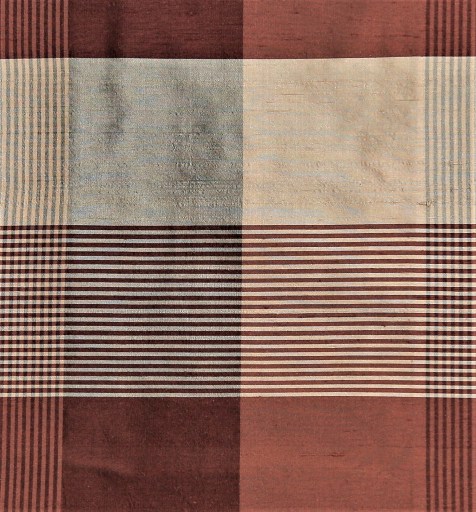 Topaz Check Upholstery Fabric Silk (Rust/Beige)-Rs. 1150 per mtr