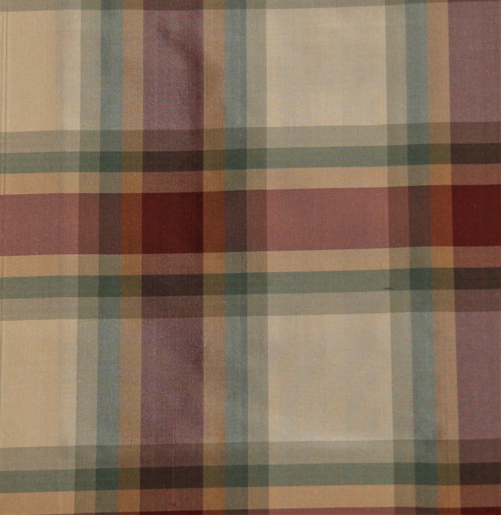 Beverly Check Upholstery Fabric Silk (Multi)-Rs. 1550 per mtr