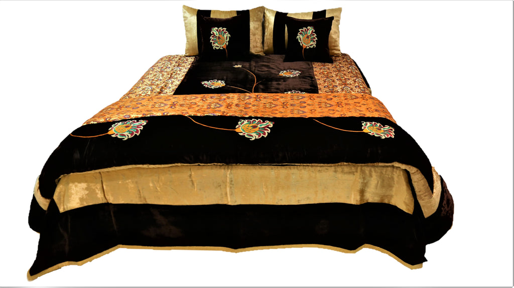 Flower Embroidery Velvet Wedding Set-(1 bedcover+ 1 Quilt + 2 Pillow Covers + 2 Cushion Covers)