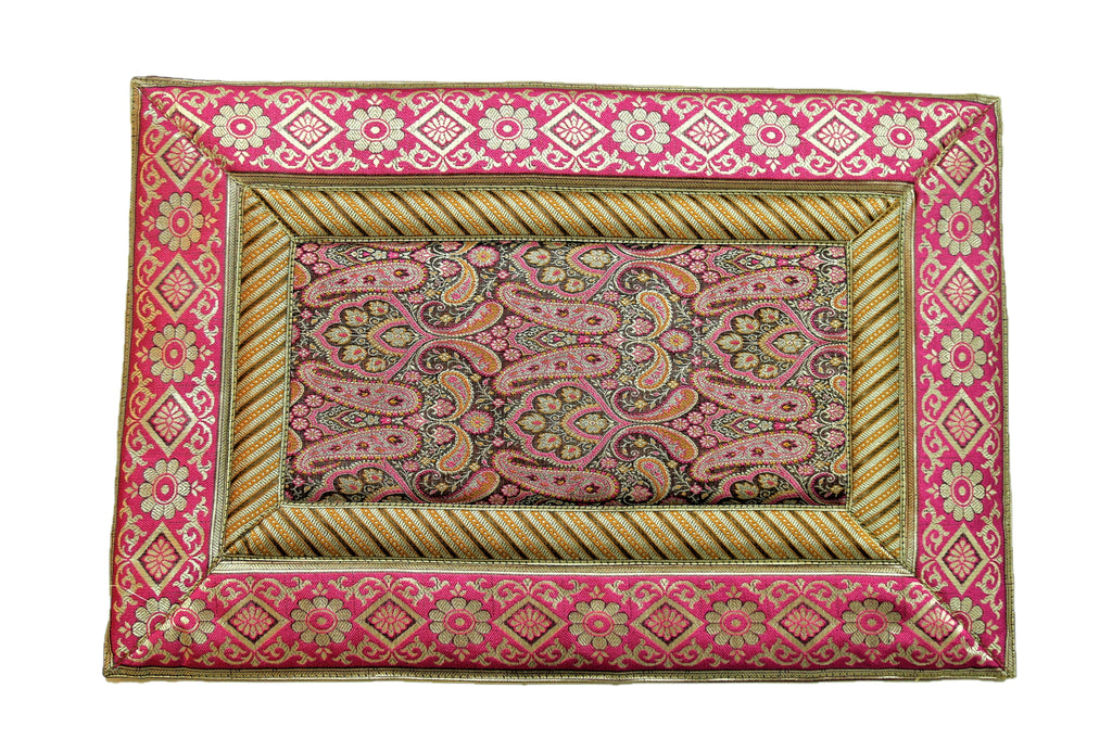 (Magenta) Brocade Table Mat-Poly Silk(6 PCS Set)