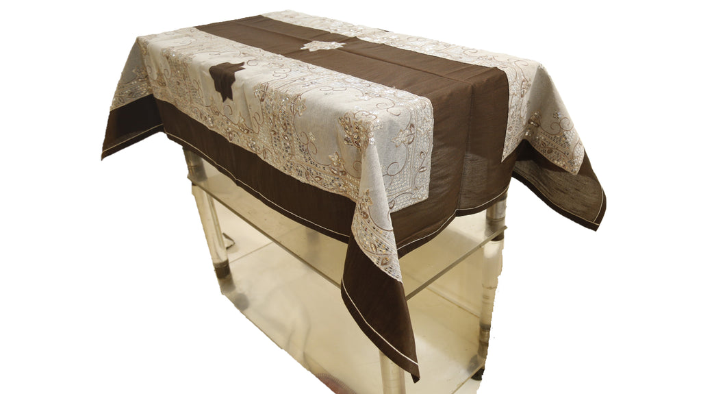 Sequence Patch Work  (36 X 54 Inch) Table Cover(Brown-Silver)-Polyester