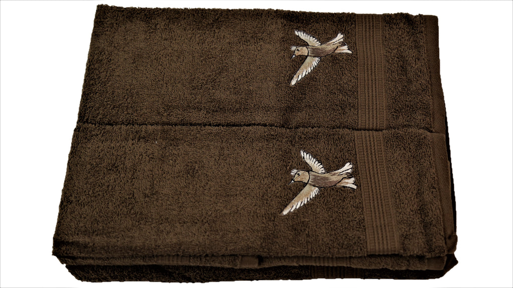 (Brown) Embroidery Cotton Bath Towel Set-4 Pcs Set