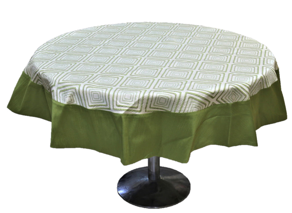 Printed (72 Inch) Round Table Cover(Cream-Green)-Sheer
