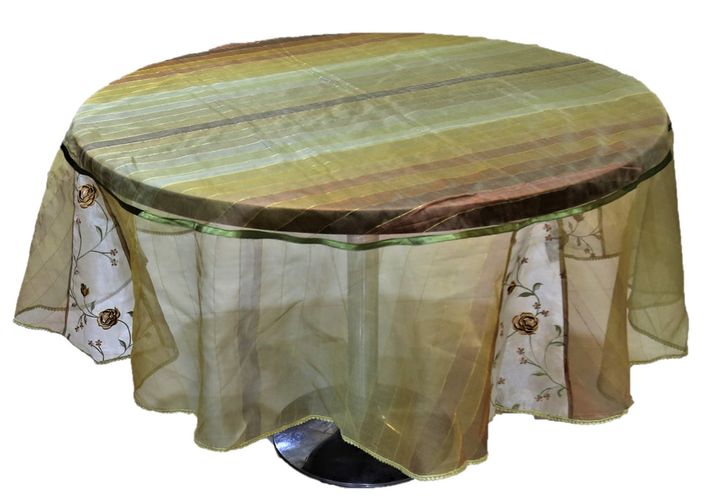 Embroidery(72 Inch) Round Table Cover(Green)-Sheer