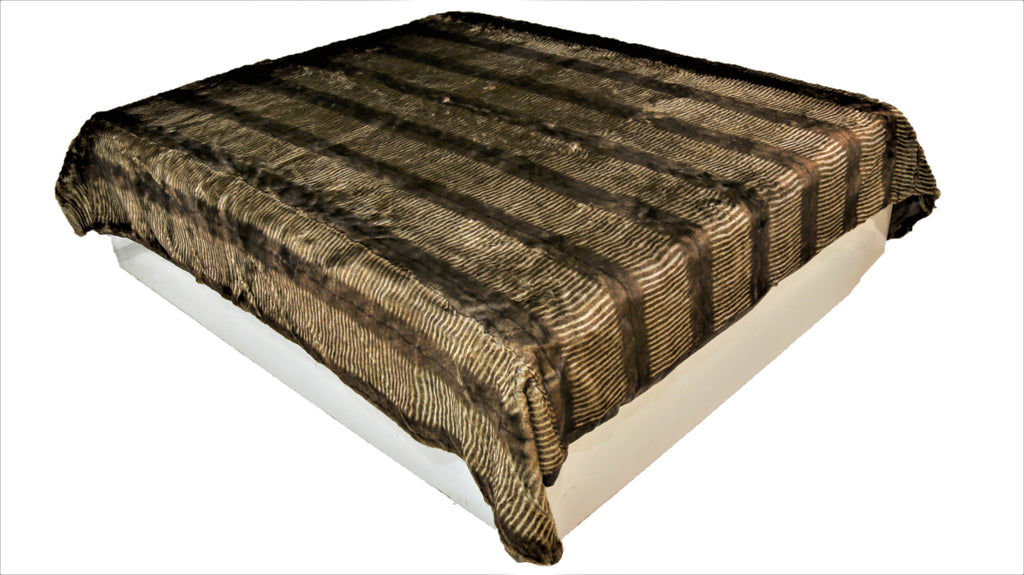 Zebra Stripe(L.Brown/Gold) Fur Blanket(220 X 240 Cm)-Polyester(3.940 Kg)