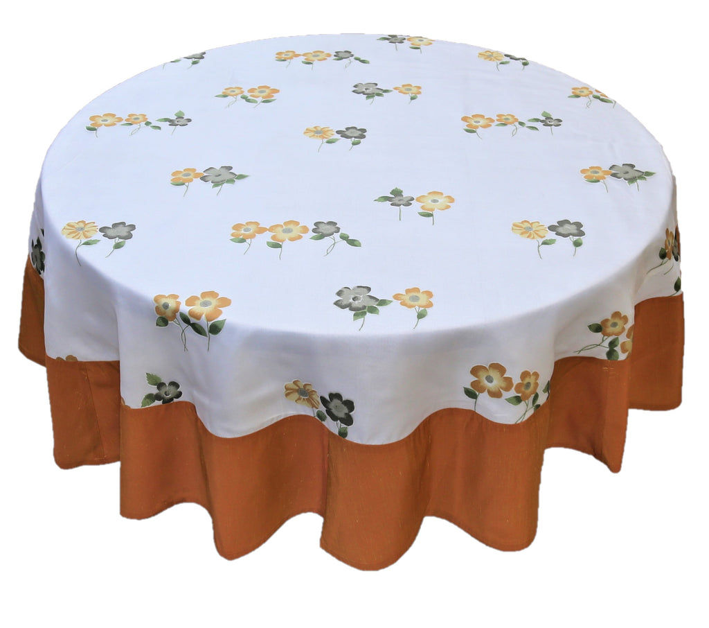 Printed(72 Inch) Round Table Cover(Cream-Orange)-Sheer