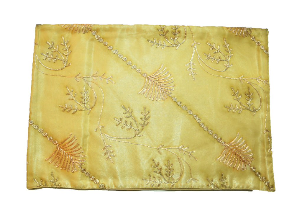 (Gold) Sheer Embroidery Table Mat-Satin(7 PCS Set)