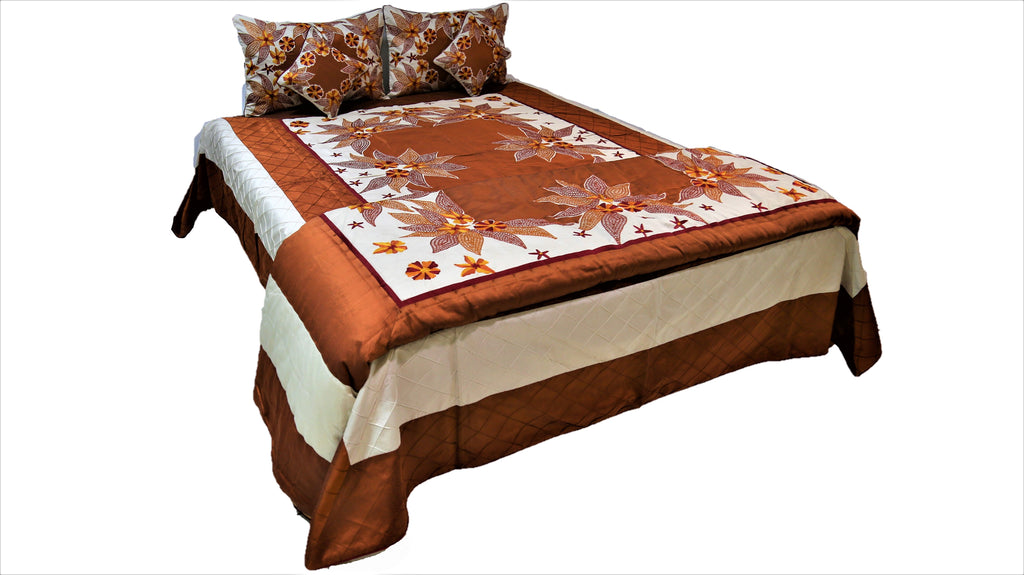 Patch Embroidery Dupion Silk Wedding Set-(1 bedcover+ 1 Quilt + 2 Pillow Covers + 2 Cushion Covers)