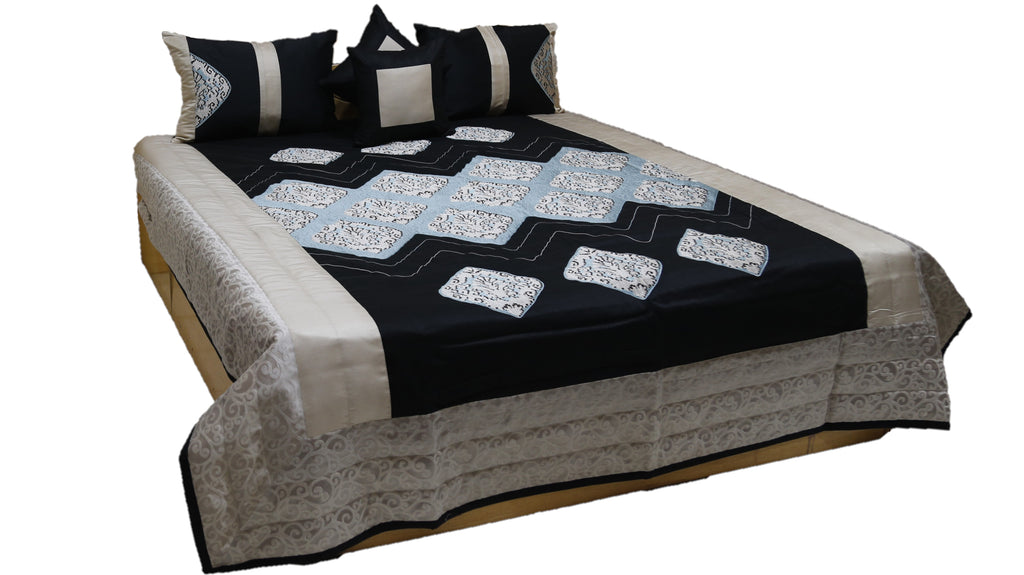 Exotica PolySilk Quilted BedCover Set-(1 bedcover+ 2 Pillow Covers + 2 Cushion Covers)