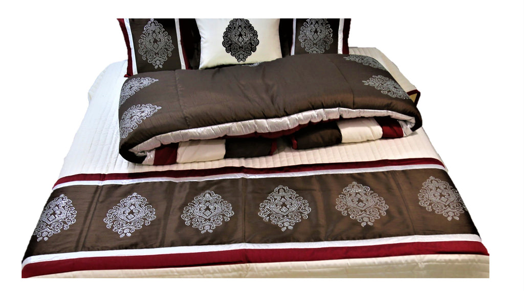 Saroski Dupion Silk Wedding Set-(1 bedcover+ 1 Quilt + 2 Pillow Covers + 3 Cushion Covers)