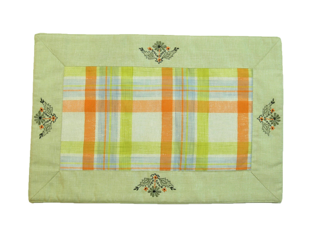 (Mint Green) Embroidery/Checkered Table Mat-Cotton(8 PCS Set)