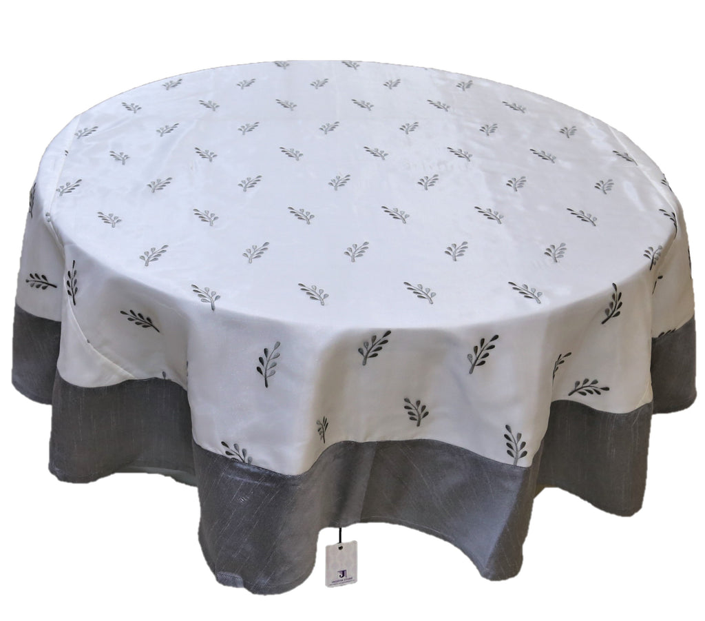 Embroidery(72 Inch) Round Table Cover(Grey-White)-Sheer