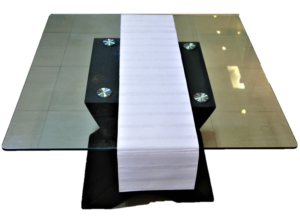 Striped(13 X 60 Inch) Table Runner(Off White)-Leather