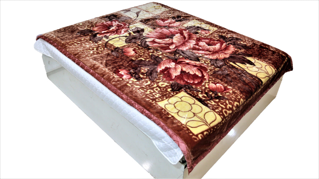Floral print (Cream/Pink/Brown)Blanket(60 X 90 Inch)-Polyester(2.46 Kg)