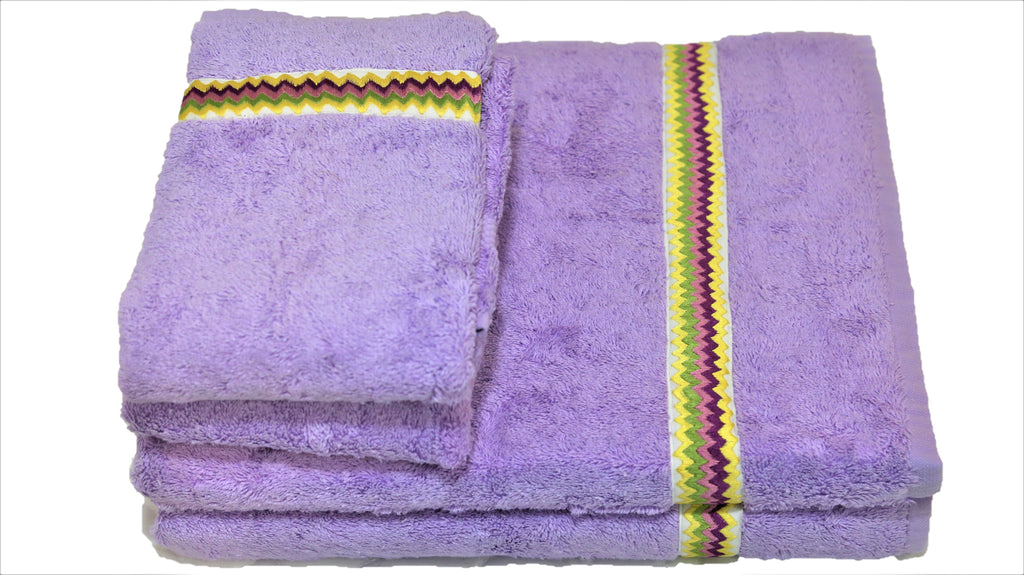 (Lavender) Embroidery Cotton Bath Towel Set-4 Pcs Set