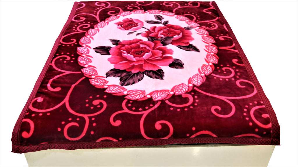 Floral print (Maroon/Pink/Red)Blanket(60 X 90 Inch)-Polyester(2.2 Kg)