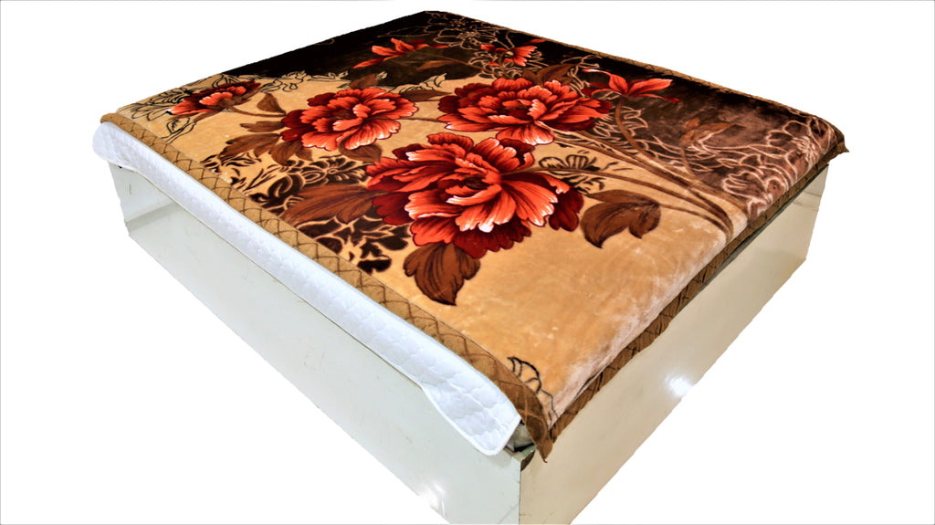 Floral print (Copper/Brown/Rust)Blanket(60 X 90 Inch)-Polyester(2.42 Kg)