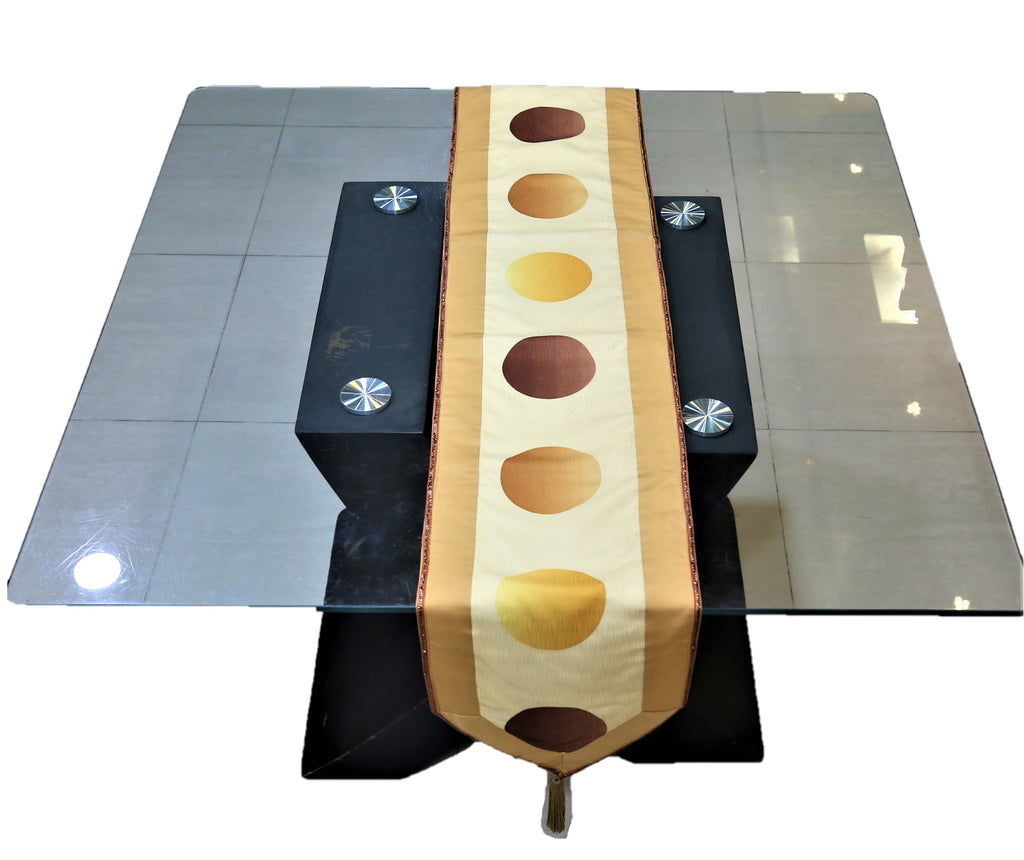 Printed(13 X 90 Inch) Table Runner(Gold)-Polyester