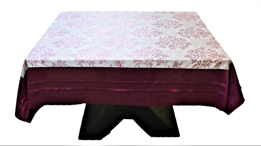Printed(72 X 72 Inch) Table Cover(Cream/Magenta)-Polyester