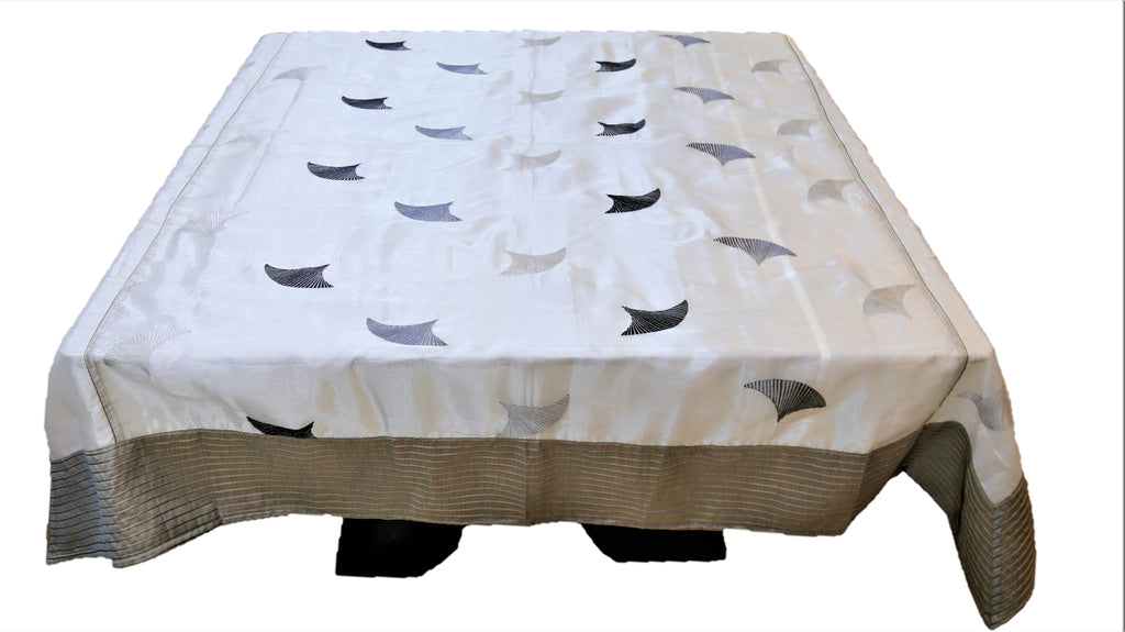 Embroidery(72 X 72 Inch) Table Cover(Grey/White)-Sheer