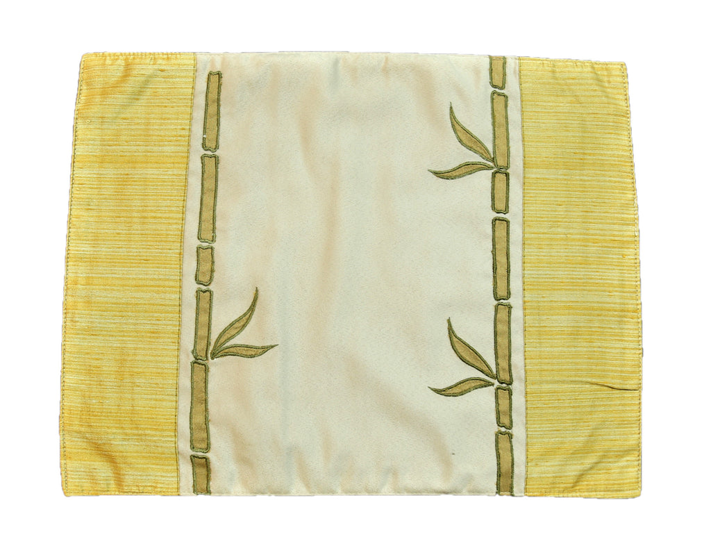 (Beige-Golden) Patch Work Table Mat-Polyester(7 PCS Set)