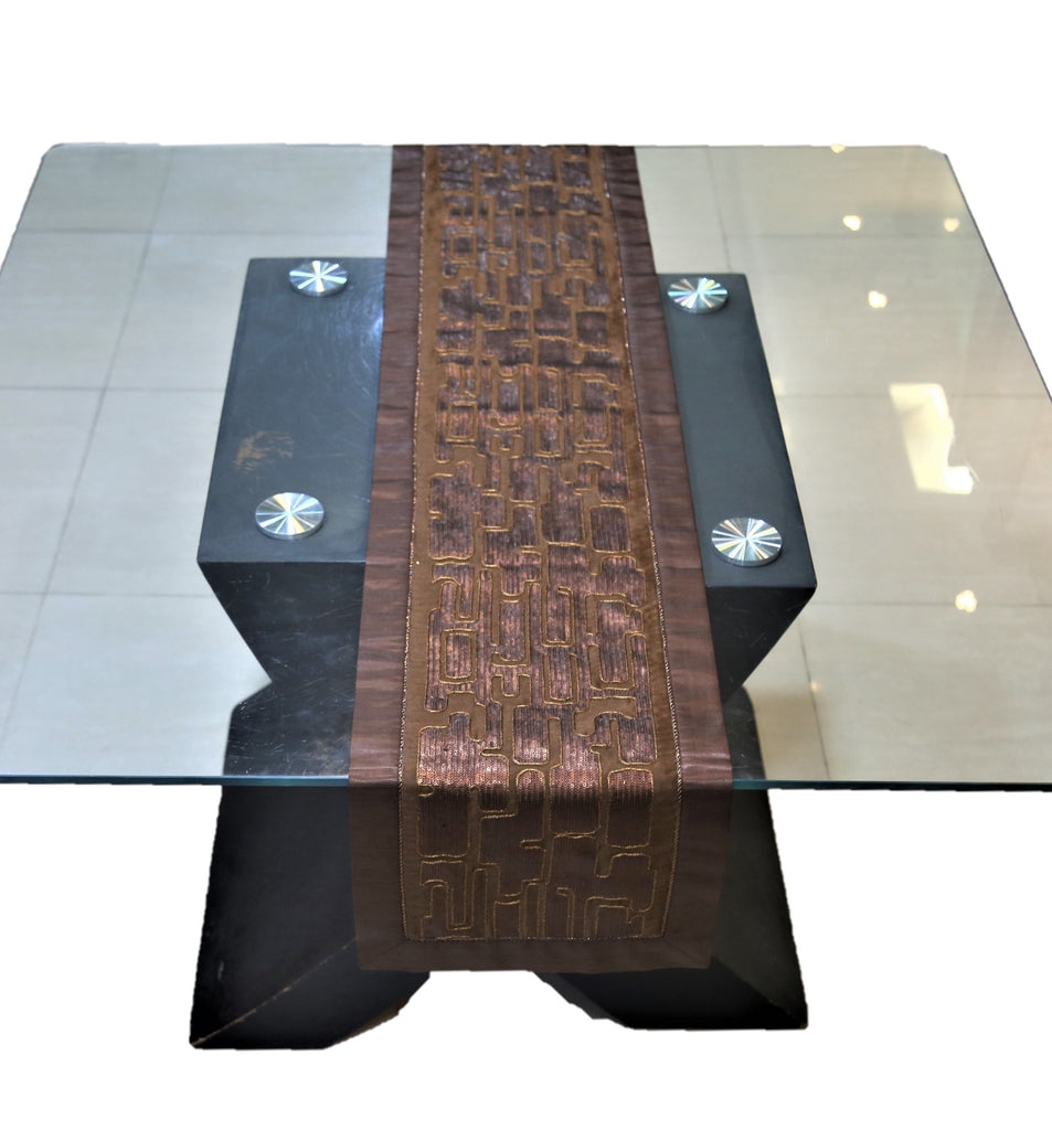 Sequence work(13 X 60 Inch) Table Runner(Brown)-Dupion Silk