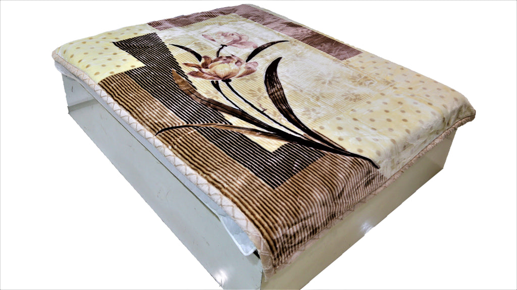 Double Print (Cream/Brown)Blanket(60 X 90 Inch)-Polyester(3.44 Kg)