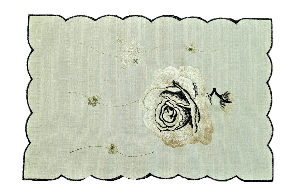 (Beige-Black) Embroidery Table Mat-Linen(Cream)(6 PCS Set)