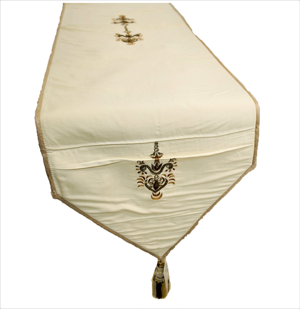 Embroidery (13 X 60 Inch) Table Runner(Cream)-Polyester