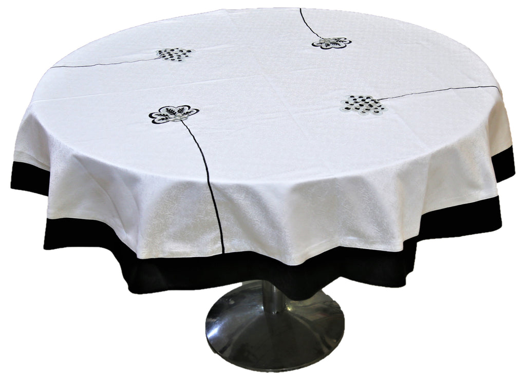 Patch Embroidery (60 Inch) Round Table Cover(Cream-Black)-Polyester