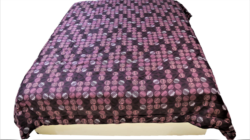 Printed(Purple) Reversible Cotton Quilt (90x108 Inch)-300GSM