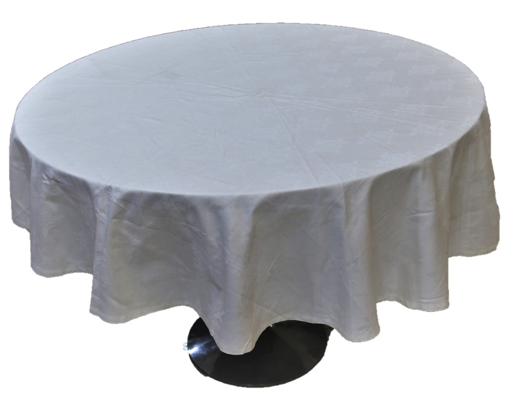 Self(60 Inch) Round Table Cover(White)-Cotton