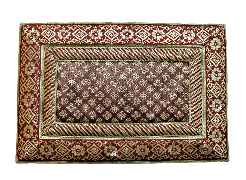 (Maroon) Brocade Table Mat-Poly Silk
