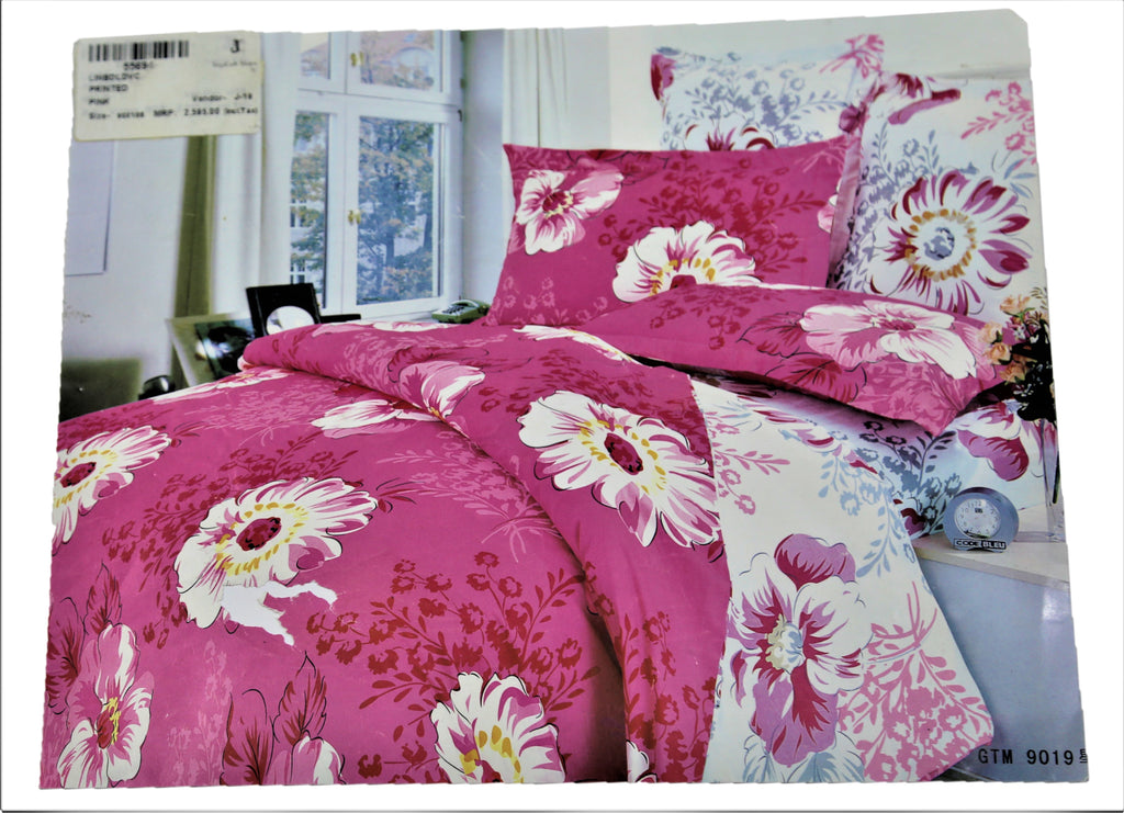 Printed (Pink) Cotton Duvet Cover(90 X 108 Inch)
