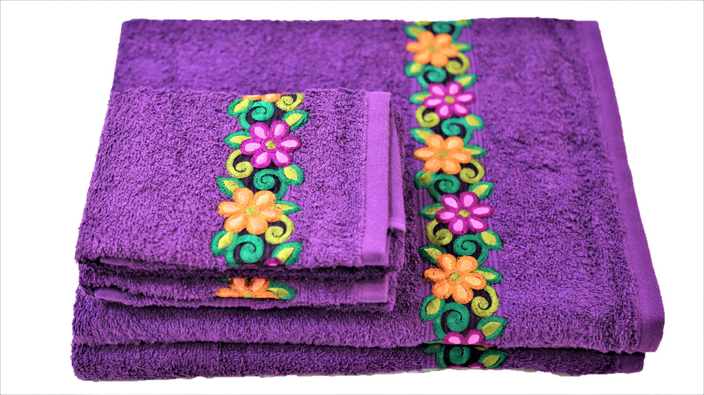 (Purple) Embroidery Cotton Bath Towel Set-4 Pcs Set