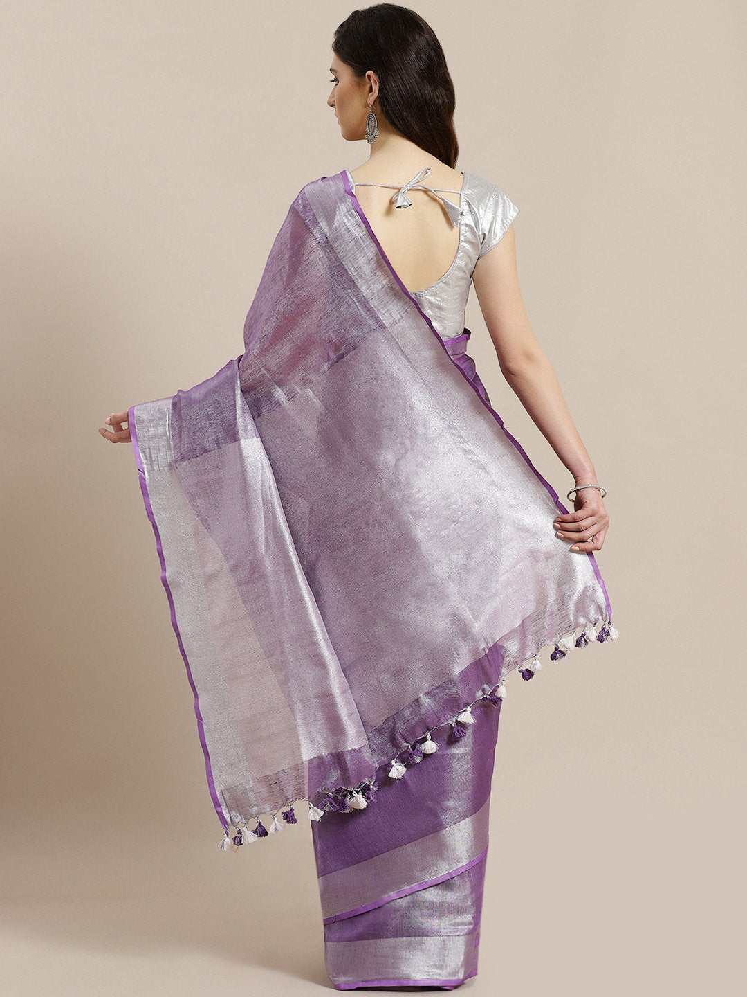 Purple Silver Dual-Tone Handwoven Handcrafted Solid Saree-Saree-Kalakari India-ALBGSA0001-Hand Woven, Sarees, Sustainable Fabrics, Tissue, Traditional Weave-[Linen,Ethnic,wear,Fashionista,Handloom,Handicraft,Indigo,blockprint,block,print,Cotton,Chanderi,Blue, latest,classy,party,bollywood,trendy,summer,style,traditional,formal,elegant,unique,style,hand,block,print, dabu,booti,gift,present,glamorous,affordable,collectible,Sari,Saree,printed, holi, Diwali, birthday, anniversary, sustainable, organ