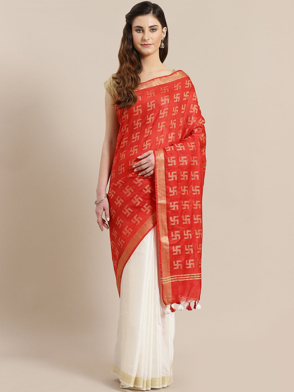 Red White Zari Handwoven Woven Design Saree-Saree-Kalakari India-ALBGSA0002-Hand Crafted Sustainable Fabrics, Kota Silk, Linen, Sarees, Traditional Weave-[Linen,Ethnic,wear,Fashionista,Handloom,Handicraft,Indigo,blockprint,block,print,Cotton,Chanderi,Blue, latest,classy,party,bollywood,trendy,summer,style,traditional,formal,elegant,unique,style,hand,block,print, dabu,booti,gift,present,glamorous,affordable,collectible,Sari,Saree,printed, holi, Diwali, birthday, anniversary, sustainable, organic,