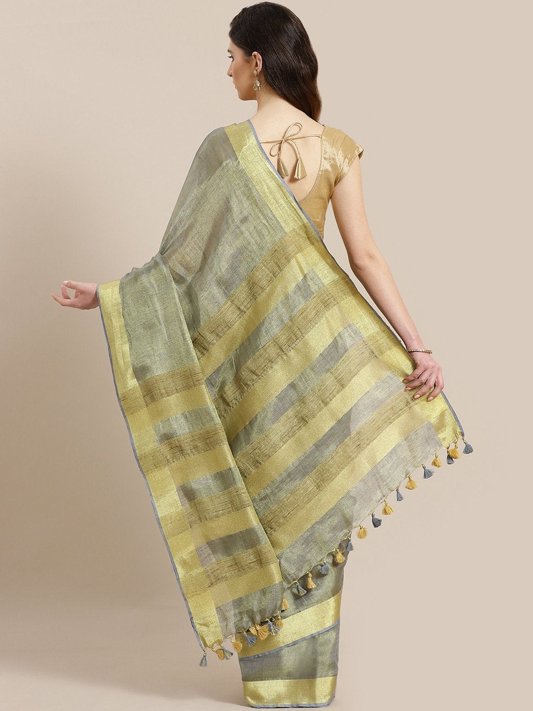 Grey Golden Dual-Tone Handwoven Handcrafted Solid Saree-Saree-Kalakari India-ALBGSA0004-Hand Woven, Sarees, Sustainable Fabrics, Tissue, Traditional Weave-[Linen,Ethnic,wear,Fashionista,Handloom,Handicraft,Indigo,blockprint,block,print,Cotton,Chanderi,Blue, latest,classy,party,bollywood,trendy,summer,style,traditional,formal,elegant,unique,style,hand,block,print, dabu,booti,gift,present,glamorous,affordable,collectible,Sari,Saree,printed, holi, Diwali, birthday, anniversary, sustainable, organic