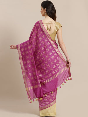 Purple Beige Zari Handwoven Woven Design Saree-Saree-Kalakari India-ALBGSA0005-Hand Crafted Sustainable Fabrics, Kota Silk, Linen, Sarees, Traditional Weave-[Linen,Ethnic,wear,Fashionista,Handloom,Handicraft,Indigo,blockprint,block,print,Cotton,Chanderi,Blue, latest,classy,party,bollywood,trendy,summer,style,traditional,formal,elegant,unique,style,hand,block,print, dabu,booti,gift,present,glamorous,affordable,collectible,Sari,Saree,printed, holi, Diwali, birthday, anniversary, sustainable, organ