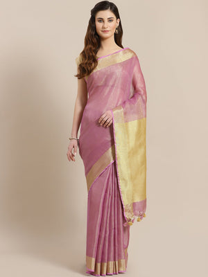 Pink Golden Handwoven Dual-Tone Saree-Saree-Kalakari India-ALBGSA0006-Hand Woven, Sarees, Sustainable Fabrics, Tissue, Traditional Weave-[Linen,Ethnic,wear,Fashionista,Handloom,Handicraft,Indigo,blockprint,block,print,Cotton,Chanderi,Blue, latest,classy,party,bollywood,trendy,summer,style,traditional,formal,elegant,unique,style,hand,block,print, dabu,booti,gift,present,glamorous,affordable,collectible,Sari,Saree,printed, holi, Diwali, birthday, anniversary, sustainable, organic, scarf, online, l