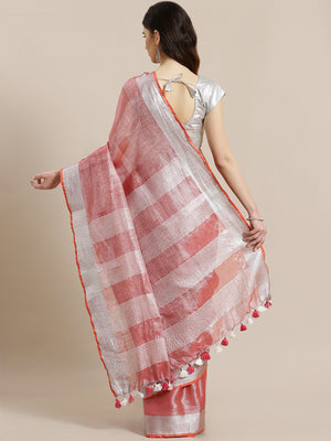 Red Silver Zari Handwoven Solid Saree-Saree-Kalakari India-ALBGSA0007-Hand Woven, Sarees, Sustainable Fabrics, Tissue, Traditional Weave-[Linen,Ethnic,wear,Fashionista,Handloom,Handicraft,Indigo,blockprint,block,print,Cotton,Chanderi,Blue, latest,classy,party,bollywood,trendy,summer,style,traditional,formal,elegant,unique,style,hand,block,print, dabu,booti,gift,present,glamorous,affordable,collectible,Sari,Saree,printed, holi, Diwali, birthday, anniversary, sustainable, organic, scarf, online, l