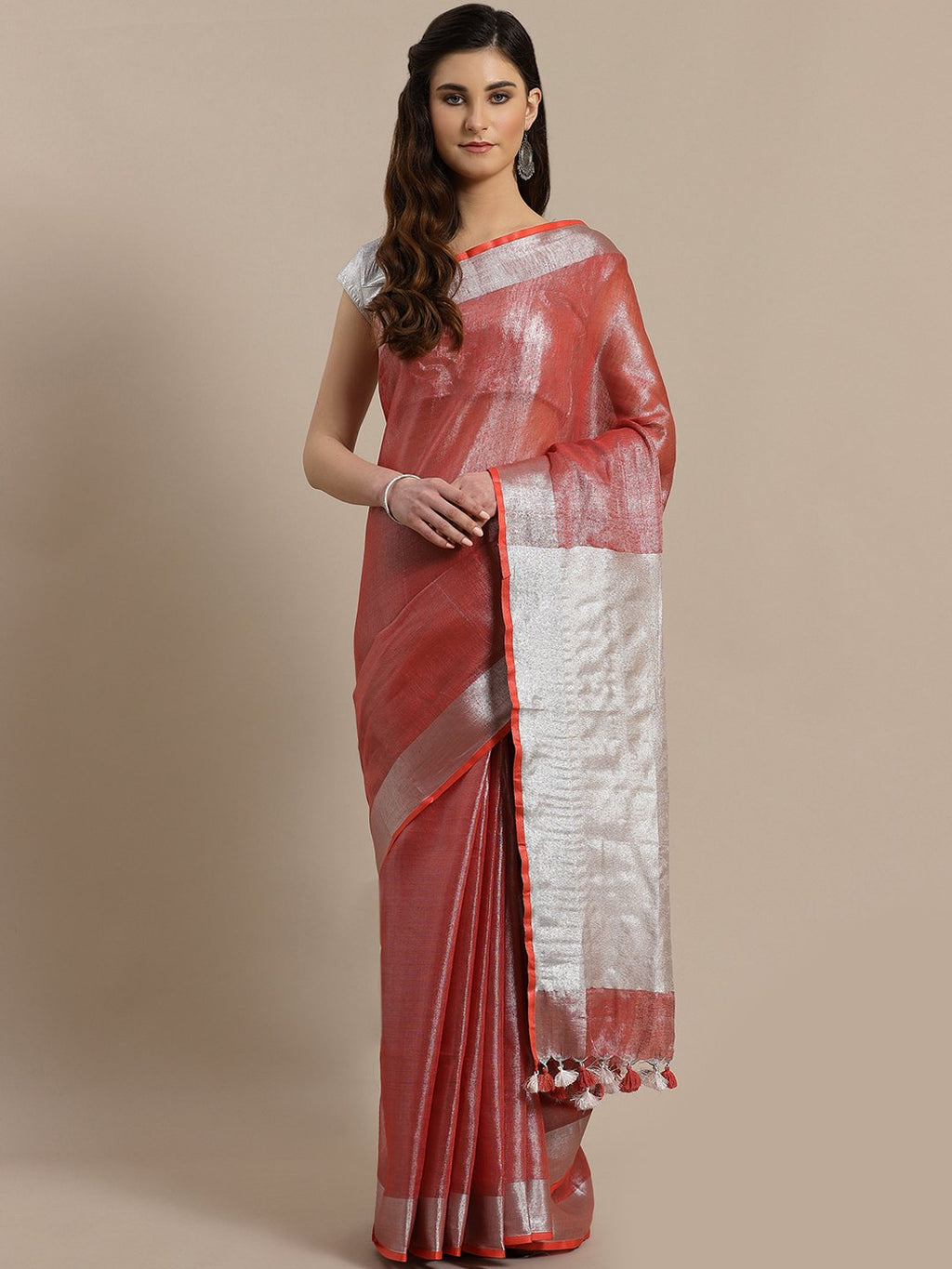 Red Silver Dual-ToneHandwoven Handcrafted Solid Saree-Saree-Kalakari India-ALBGSA0008-Hand Woven, Sarees, Sustainable Fabrics, Tissue, Traditional Weave-[Linen,Ethnic,wear,Fashionista,Handloom,Handicraft,Indigo,blockprint,block,print,Cotton,Chanderi,Blue, latest,classy,party,bollywood,trendy,summer,style,traditional,formal,elegant,unique,style,hand,block,print, dabu,booti,gift,present,glamorous,affordable,collectible,Sari,Saree,printed, holi, Diwali, birthday, anniversary, sustainable, organic,