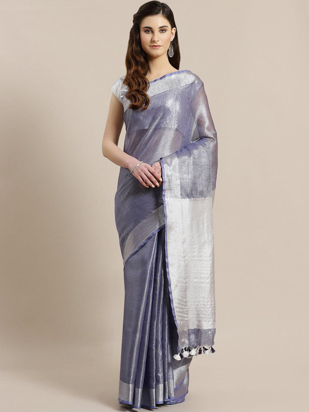 Blue Silver Dual-Tone Handwoven Handcrafted Solid Saree-Saree-Kalakari India-ALBGSA0009-Hand Woven, Sarees, Sustainable Fabrics, Tissue, Traditional Weave-[Linen,Ethnic,wear,Fashionista,Handloom,Handicraft,Indigo,blockprint,block,print,Cotton,Chanderi,Blue, latest,classy,party,bollywood,trendy,summer,style,traditional,formal,elegant,unique,style,hand,block,print, dabu,booti,gift,present,glamorous,affordable,collectible,Sari,Saree,printed, holi, Diwali, birthday, anniversary, sustainable, organic