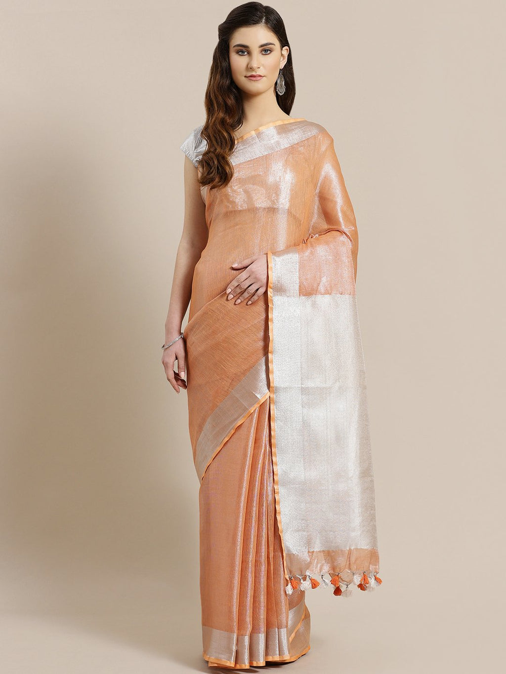 Peach-Coloured Silver Dual-Tone Handwoven Saree-Saree-Kalakari India-ALBGSA0010-Hand Woven, Sarees, Sustainable Fabrics, Tissue, Traditional Weave-[Linen,Ethnic,wear,Fashionista,Handloom,Handicraft,Indigo,blockprint,block,print,Cotton,Chanderi,Blue, latest,classy,party,bollywood,trendy,summer,style,traditional,formal,elegant,unique,style,hand,block,print, dabu,booti,gift,present,glamorous,affordable,collectible,Sari,Saree,printed, holi, Diwali, birthday, anniversary, sustainable, organic, scarf,