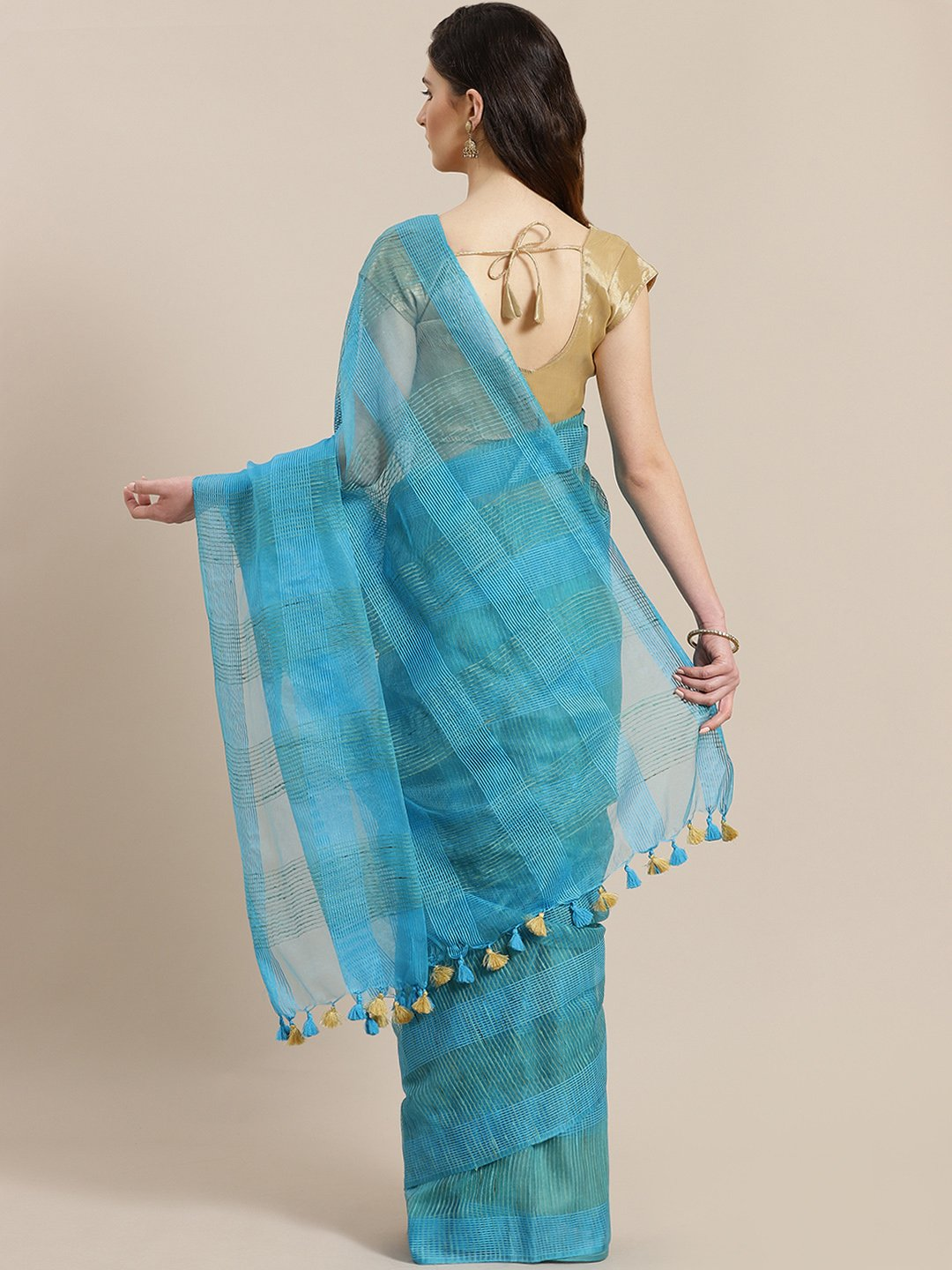 Blue Green Self-Checked Handwoven Saree-Saree-Kalakari India-ALBGSA0011-Hand Crafted Sustainable Fabrics, Kota Silk, Linen, Sarees, Traditional Weave-[Linen,Ethnic,wear,Fashionista,Handloom,Handicraft,Indigo,blockprint,block,print,Cotton,Chanderi,Blue, latest,classy,party,bollywood,trendy,summer,style,traditional,formal,elegant,unique,style,hand,block,print, dabu,booti,gift,present,glamorous,affordable,collectible,Sari,Saree,printed, holi, Diwali, birthday, anniversary, sustainable, organic, sca