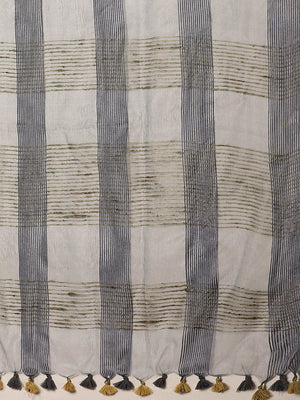 Charcoal Grey Beige Self-Checked Handwoven Saree-Saree-Kalakari India-ALBGSA0013-Hand Crafted Sustainable Fabrics, Kota Silk, Linen, Sarees, Traditional Weave-[Linen,Ethnic,wear,Fashionista,Handloom,Handicraft,Indigo,blockprint,block,print,Cotton,Chanderi,Blue, latest,classy,party,bollywood,trendy,summer,style,traditional,formal,elegant,unique,style,hand,block,print, dabu,booti,gift,present,glamorous,affordable,collectible,Sari,Saree,printed, holi, Diwali, birthday, anniversary, sustainable, org