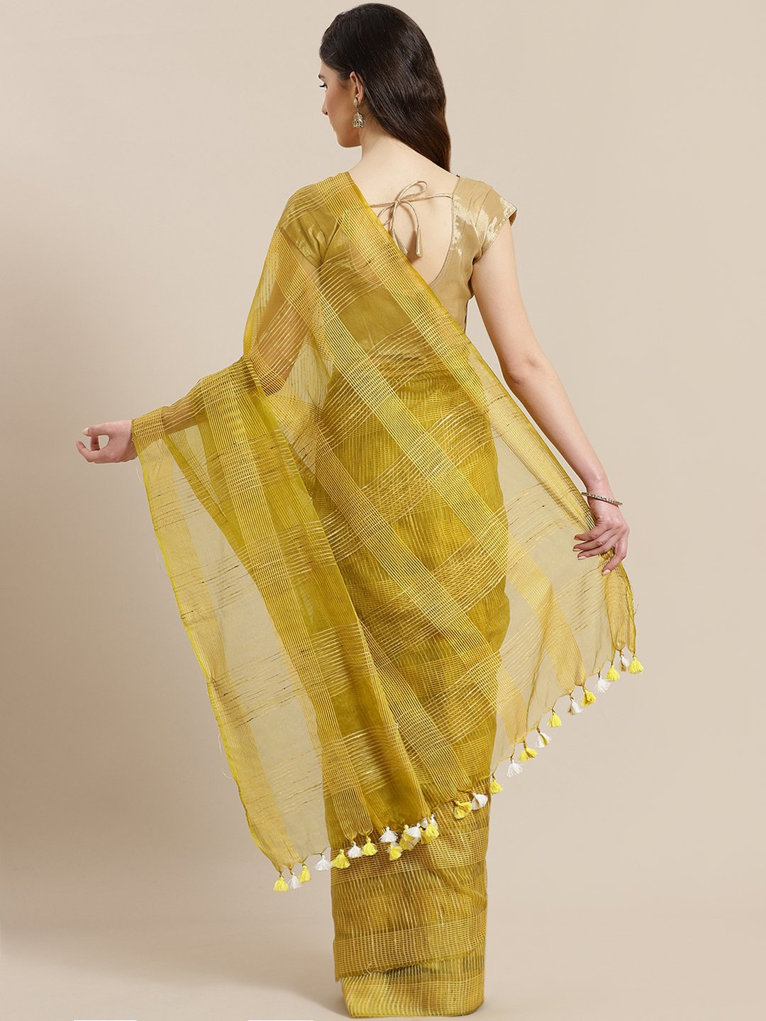 Green Mustard Yellow Self-Checked Handwoven Saree-Saree-Kalakari India-ALBGSA0014-Hand Crafted Sustainable Fabrics, Kota Silk, Linen, Sarees, Traditional Weave-[Linen,Ethnic,wear,Fashionista,Handloom,Handicraft,Indigo,blockprint,block,print,Cotton,Chanderi,Blue, latest,classy,party,bollywood,trendy,summer,style,traditional,formal,elegant,unique,style,hand,block,print, dabu,booti,gift,present,glamorous,affordable,collectible,Sari,Saree,printed, holi, Diwali, birthday, anniversary, sustainable, or